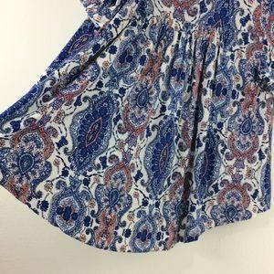 Symmetry Tops - Symmetry white/cobalt print boho peasant blouse-M